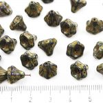 Bell Flower Caps Czech Beads - Picasso Brown Opal Ruby Red - 9mm