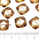 Square Flat Carved Window Table Cut Czech Beads - Picasso Crystal Brown Yellow - 15mm